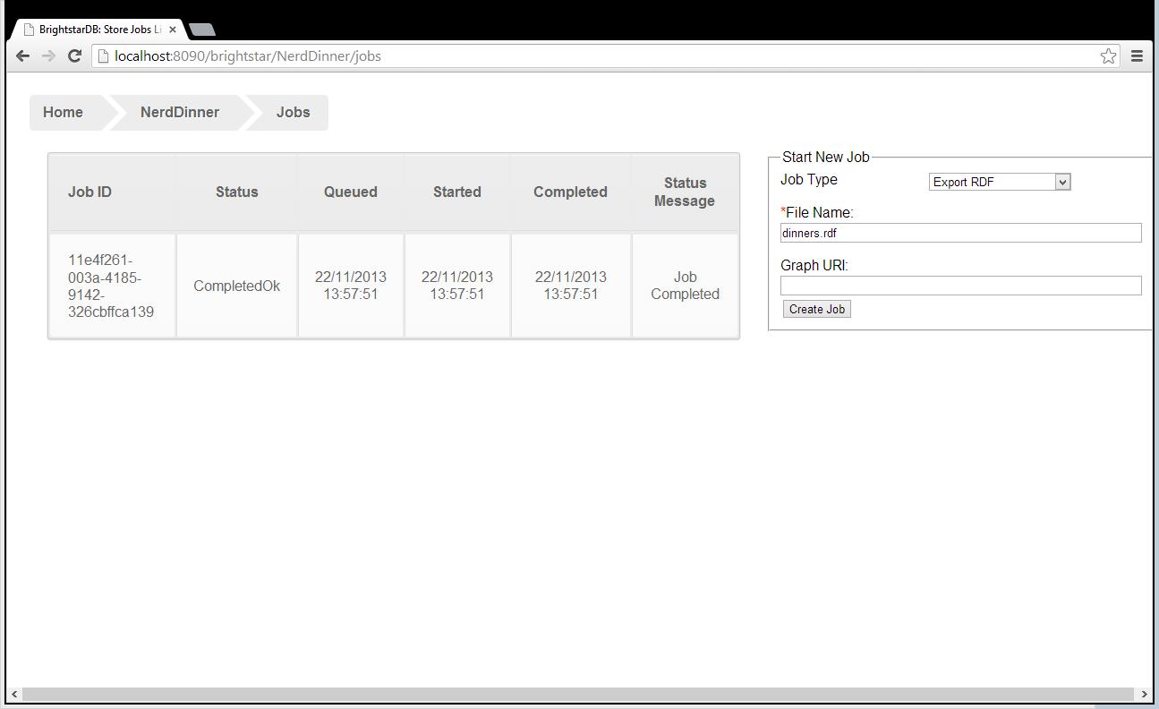 BrightstarDB Server Jobs Page